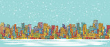 City skyline panorama, winter snowing, hand drawn cityscape, vector drawing architecture illustration - 132794568