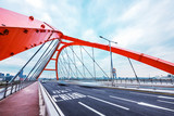 bridge with abstract steel constructions in seoul in cloud sky