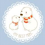 Vector background with cute polar bear