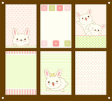 Vector set of cards with Easter bunny