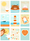 Set of vacation travel banners with cute bear and rabbit