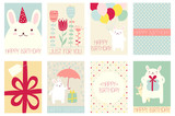 Set of birthday banners with cute rabbits