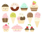 Collection of ice cream in waffle cones and cupcakes