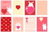 Set of Valentine banners with cute rabbits