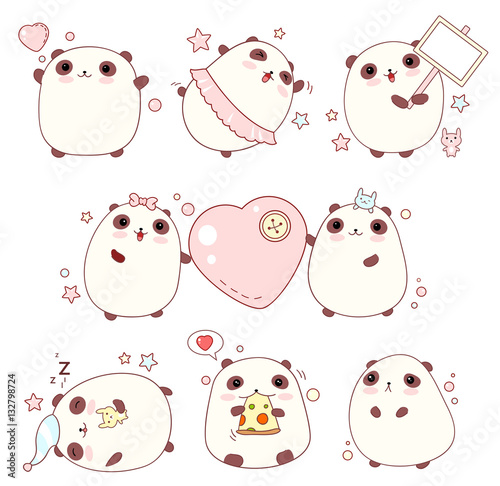 Set of cute pandas in kawaii style - 132798724