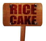 rice cake, 3D rendering, text on wooden sign