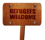 refugees welcome, 3D rendering, text on wooden sign