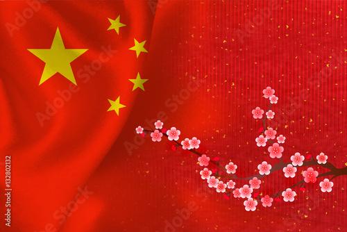 Poster 中国  国旗 梅 背景