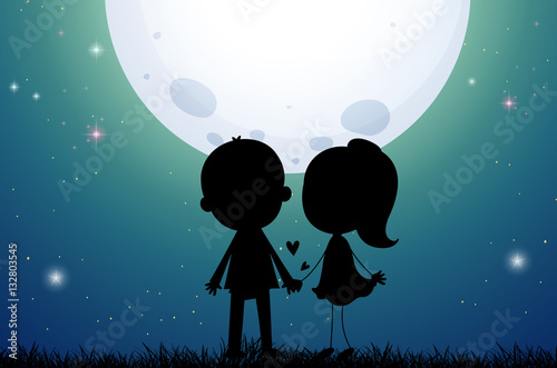 Tuinposter Groen blauw Silhouette love couple in the field