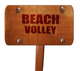 beach volley sign, 3D rendering, text on wooden sign