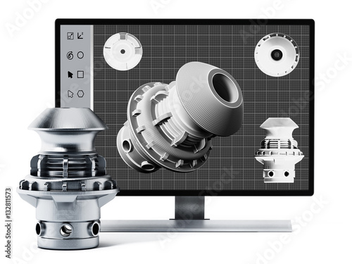 3D product design software and manufactured product. 3D illustration