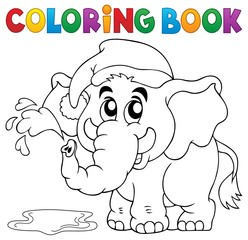 Coloring book elephant with hat