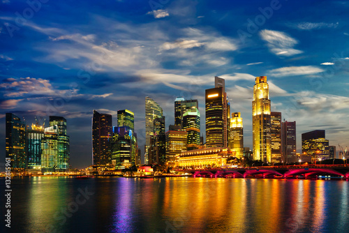 Poster Singapore skyline in evening
