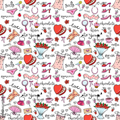 Cotton fabric Gift Ideas seamless background