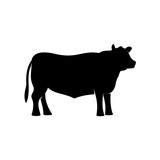Black angus beef bull standing vector silhouette
