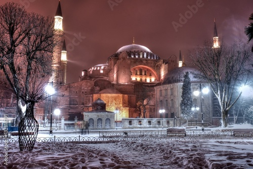 Poster Hagia Sophia Museum under snow, Istanbul, Turkey