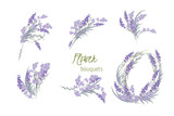 Floral lavender retro vintage background - 132820392
