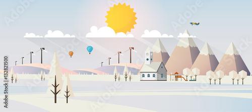 Fototapeta Flat illustration of winter landscape, Vector Design,