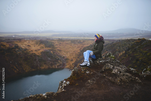 Poster Woman with Closed Eyes on Top of Hill