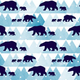 Cute seamless pattern with winter polar bear. Mother and her child. Watercolor mountains in the background. Cute children pattern. Perfect for background paper or textiles. - 132823734