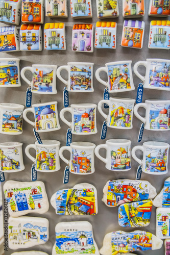 CORFU, GREECE - JULY 09, 2016: Traditional souvenirs and gifts.