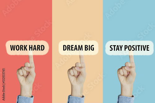 Poster Hands fingers pointing with index fingers to Work Hard,Dream Big