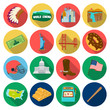 USA country set icons in flat style. Big collection of USA country vector symbol stock illustration