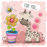 Greeting card Cute Cartoon Giraffe with a flower