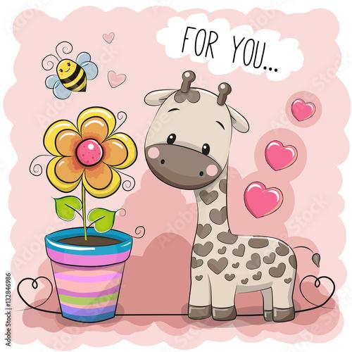 Poster Greeting card Cute Cartoon Giraffe with a flower