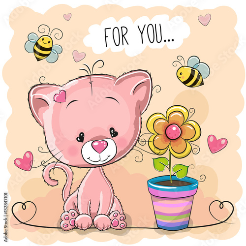Poster Greeting card cute cartoon Kitten with flower