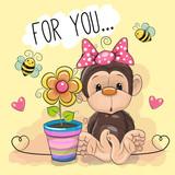 Greeting card cute cartoon Monkey with flower