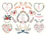Hand drawn wedding floral hearts with laurels and flowers bouquets - 132847960