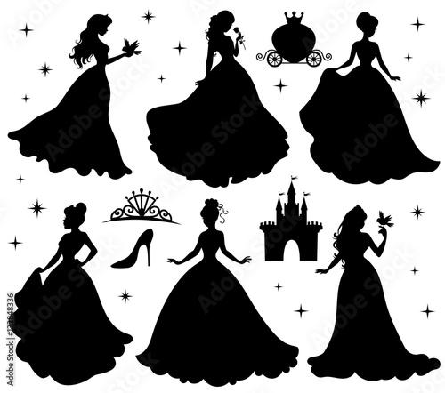 Zestaw sylwetki księżniczki.