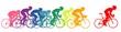 Постер, плакат: Bike racers colorful