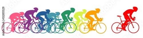 Bike racers, colorful