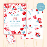 Baby shower cards with watercolor style florals. vector illustration.