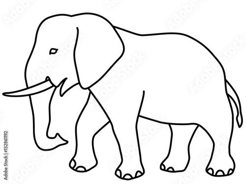 Elephant contour icon - 132861192