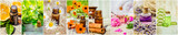 collage of herbs and essential oil.   - 132862902