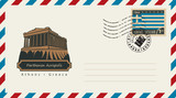 an envelope with a postage stamp with Acropolis Parthenon in Athens, and the flag of Greece - 132863321