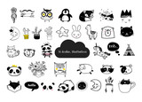 Fototapety Scandinavian style, simple design, clean and cute black, white illustrations, collection of children doodles, sketches