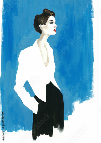 watercolor fashion beauty girl - 132871975