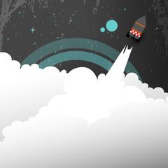 Retro Rocket launch vector illustration