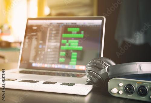 Fotobehang Muziek Music Home studio equipments with laptop computer