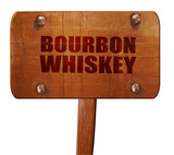 bourbon whiskey, 3D rendering, text on wooden sign