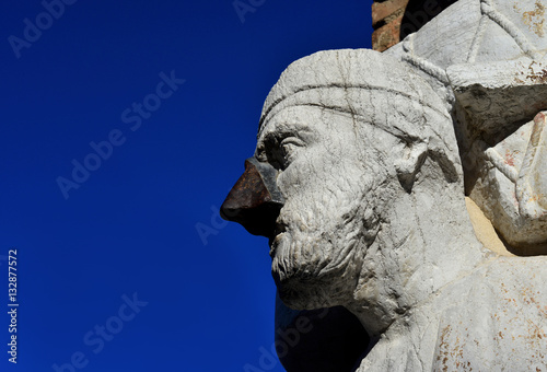 Poster Sior Antonio Rioba moorish merchant statue in Venice (with copy space)