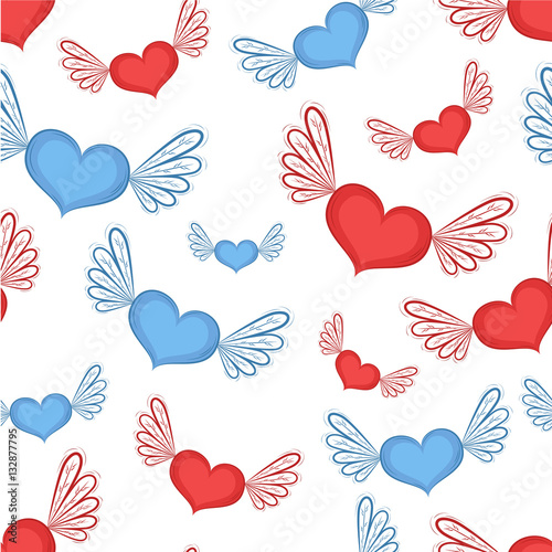 Cotton fabric Happy Valentines Day seamless pattern