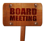 board meeting, 3D rendering, text on wooden sign