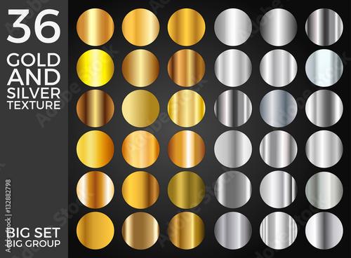 Wektorowy ustawiający Złociści i Srebni gradienty, złoto i srebro Obciosują kolekcję, tekstury Grupują Eps 10