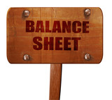 balance sheet, 3D rendering, text on wooden sign