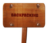 backpacking, 3D rendering, text on wooden sign